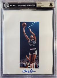 George Gervin Autographed 8.5x11 Photo Sheet San Antonio Spurs Beckett BAS Stock #196058
