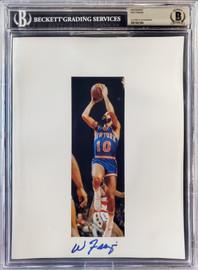 Walt Frazier Autographed 8.5x11 Photo Sheet New York Knicks Beckett BAS Stock #196063