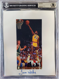 James Worthy Autographed 8.5x11 Photo Sheet Los Angeles Lakers Beckett BAS Stock #196067