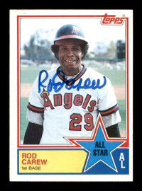 Rod Carew Autographed 1983 Topps All Star Card #386 California Angels SKU #196117