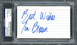 """Tim Brown Autographed 3x5 Index Card Oakland Raiders """"Best Wishes"""" PSA/DNA #83721314"""