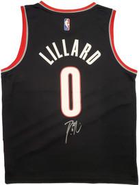 Portland Trail Blazers Damian Lillard Autographed Black Fanatics Jersey Size M Beckett BAS Stock #196412