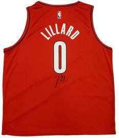 Portland Trail Blazers Damian Lillard Autographed Red Fanatics Jersey Size XXL Beckett BAS Stock #196414