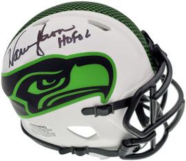 """Warren Moon Autographed Seattle Seahawks Lunar Eclipse White Speed Mini Helmet """"HOF 06"""" MCS Holo Stock #196471"""