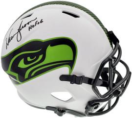 """Warren Moon Autographed Seattle Seahawks Lunar Eclipse White Full Size Replica Speed Helmet """"HOF 06"""" MCS Holo Stock #196472"""