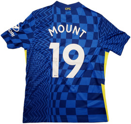 Chelsea F.C. Mason Mount Autographed Blue Nike Jersey Size L in Silver Beckett BAS Stock #196474