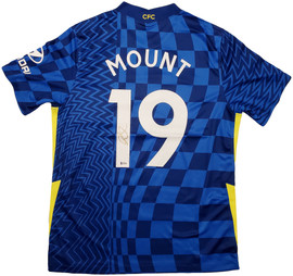 Chelsea F.C. Mason Mount Autographed Blue Nike Jersey Size L in Gold Beckett BAS Stock #196475