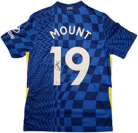 Chelsea F.C. Mason Mount Autographed Blue Nike Jersey Size M in Black Beckett BAS Stock #196480