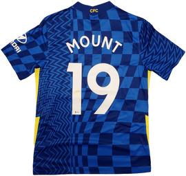 Chelsea F.C. Mason Mount Autographed Blue Nike Jersey Size M in Gold Beckett BAS Stock #196481