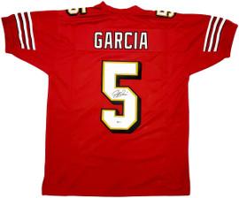 San Francisco 49ers Jeff Garcia Autographed Red Jersey Beckett BAS Stock #196499