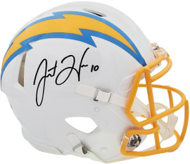 Justin Herbert Autographed San Diego Chargers White Full Size Authentic Speed Helmet Beckett BAS QR Stock #196550