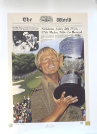 Jack Nicklaus Autographed 20x27 Lithograph 1980 PGA PSA/DNA #Q66430
