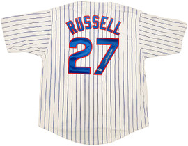 Chicago Cubs Addison Russell Autographed White Jersey Beckett BAS Stock #196620