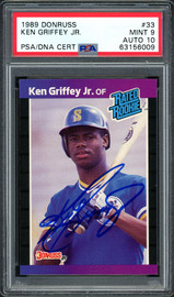 Ken Griffey Jr. Autographed 1989 Donruss Rookie Card #33 Seattle Mariners PSA 9 Auto Grade Gem Mint 10 PSA/DNA #63156009