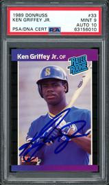Ken Griffey Jr. Autographed 1989 Donruss Rookie Card #33 Seattle Mariners PSA 9 Auto Grade Gem Mint 10 PSA/DNA #63156010
