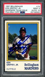 Ken Griffey Jr. Autographed 1987 Bellingham Rookie Card #15 Bellingham Mariners PSA 9 Auto Grade Gem Mint 10 PSA/DNA #63156002