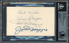 DiMaggio Brothers Autographed 3x5 Index Card With Joe, Dom & Vince DiMaggio Beckett BAS #11484739