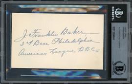 "Frank ""Home Run"" Baker Autographed 3x5 Index Card Philadelphia A's Auto Grade Mint 9 ""3rd Base"" Beckett BAS #13264844"