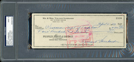 Vince Lombardi Autographed 3x8 Check Green Bay Packers Auto Grade Mint 9 PSA/DNA #84097703