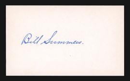 Bill Summers Autographed 3x5 Index Card Umpire PSA/DNA #L73787