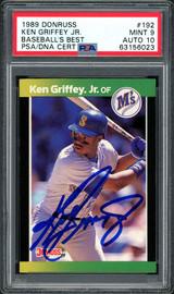 Ken Griffey Jr. Autographed 1989 Donruss Baseball's Best Rookie Card #192 Seattle Mariners PSA 9 Auto Grade Gem Mint 10 PSA/DNA #63156023