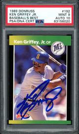 Ken Griffey Jr. Autographed 1989 Donruss Baseball's Best Rookie Card #192 Seattle Mariners PSA 9 Auto Grade Gem Mint 10 PSA/DNA #63156020