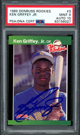 Ken Griffey Jr. Autographed 1989 Donruss The Rookies Rookie Card #3 Seattle Mariners PSA 9 Auto Grade Gem Mint 10 PSA/DNA #63156027