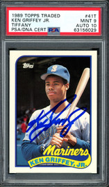 Ken Griffey Jr. Autographed 1989 Topps Traded Tiffany Rookie Card #41T Seattle Mariners PSA 9 Auto Grade Gem Mint 10 PSA/DNA #63156029