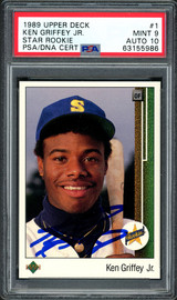 Ken Griffey Jr. Autographed 1989 Upper Deck Rookie Card #1 Seattle Mariners PSA 9 Auto Grade Gem Mint 10 PSA/DNA #63155986