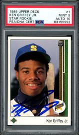 Ken Griffey Jr. Autographed 1989 Upper Deck Rookie Card #1 Seattle Mariners PSA 9 Auto Grade Gem Mint 10 PSA/DNA #63155992