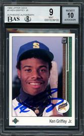 Ken Griffey Jr. Autographed 1989 Upper Deck Rookie Card #1 Seattle Mariners BGS 9 Auto Grade Gem Mint 10 Beckett BAS #13239100