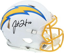 Justin Herbert Autographed Los Angeles Chargers White Full Size Authentic Speed Helmet Signed In Black Beckett BAS Stock #196979
