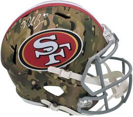 Nick Bosa Autographed San Francisco 49ers Camo Full Size Replica Speed Helmet Beckett BAS QR Stock #196988