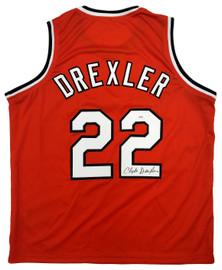 Portland Trail Blazers Clyde Drexler Autographed Red Jersey JSA Stock #197000