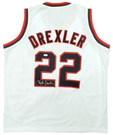 Portland Trail Blazers Clyde Drexler Autographed White Jersey JSA Stock #197005