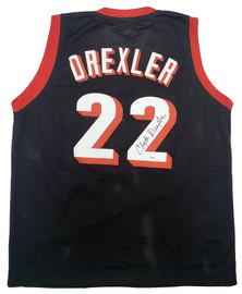 Portland Trail Blazers Clyde Drexler Autographed Black Jersey JSA Stock #197006