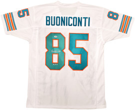 """Miami Dolphins Nick Buoniconti Autographed White Jersey """"HOF 01"""" PSA/DNA Stock #197010"""
