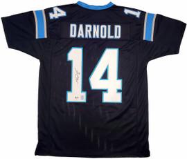 Carolina Panthers Sam Darnold Autographed Black Jersey Beckett BAS Stock #197011