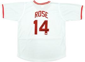 "Cincinnati Reds Pete Rose Autographed White Jersey ""Charlie Hustle"" PR Holo Stock #197039"