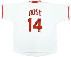 Cincinnati Reds Pete Rose Autographed White Jersey PR Holo Stock #197041