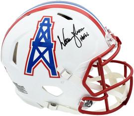 "Warren Moon Autographed Houston Oilers White Full Size Authentic Speed Helmet ""HOF 06"" MCS Holo Stock #197048"