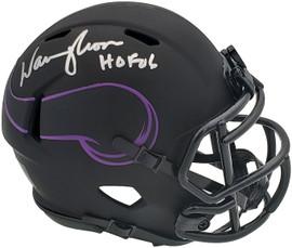 "Warren Moon Autographed Minnesota Vikings Eclipse Black Mini Helmet ""HOF 06"" MCS Holo Stock #197050"