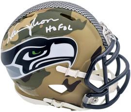 """Warren Moon Autographed Seattle Seahawks Camo Mini Helmet """"HOF 06"""" MCS Holo Stock #197051"""