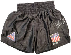 Mike Tyson Autographed Black Boxing Trunks Beckett BAS Stock #197056