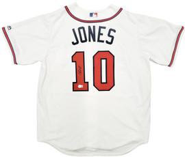 Atlanta Braves Chipper Jones Autographed White Majestic Jersey Size L Beckett BAS Stock #197058