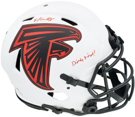 """Kyle Pitts Autographed Atlanta Falcons Lunar Eclipse White Full Size Authentic Speed Helmet """"Dirty Bird"""" Beckett BAS QR Stock #197063"""