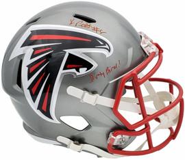 "Kyle Pitts Autographed Atlanta Falcons Flash Silver Full Size Replica Speed Helmet ""Dirty Bird"" Beckett BAS QR Stock #197064"