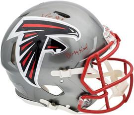 "Kyle Pitts Autographed Atlanta Falcons Flash Silver Full Size Authentic Speed Helmet ""Dirty Bird"" Beckett BAS QR Stock #197066"