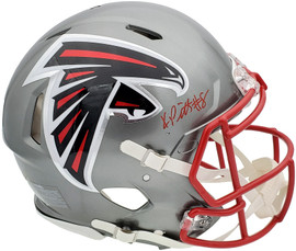 Kyle Pitts Autographed Atlanta Falcons Flash Silver Full Size Authentic Speed Helmet Beckett BAS QR Stock #197067