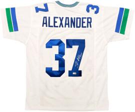 Seattle Seahawks Shaun Alexander Autographed White Jersey Beckett BAS Stock #197072